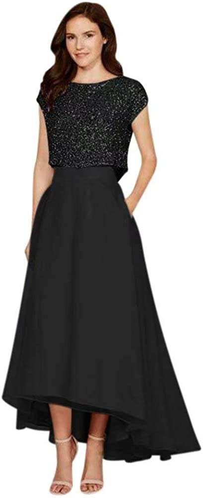 QueenBridal Women's Two Pieces Hi-Lo Sequins Homecoming Dress Prom Gown Bridesmaid Dress with Pocket QB904