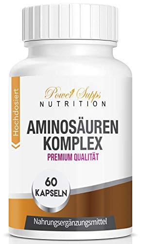 PowerSupps Aminosäuren - Komplex, hochdosierte Kapseln mit 18 Aminosäuren, 8 essentielle Aminosäuren