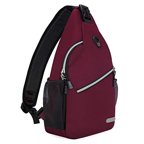 MOSISO Rope Sling Backpack (Up to 13 Inch), Multipurpose Crossbody Chest Shoulder Outdoor Travel Hiking Daypack, Wine Red