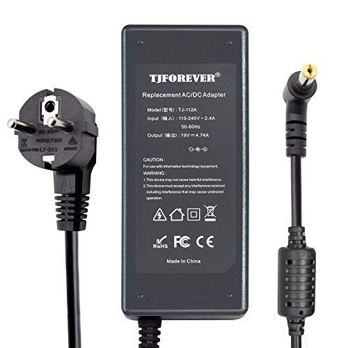 TJFOREVER Cargador Portatil Acer 19V 4.74A 90W para Acer Aspire E15 E17 E5 E1 V5 F5 F15 ES1 3 5 6 7 Travelmate Extensa Ordenador portátil Fuente de Alimentación Adaptador Conector:5.5 * 1.7mm