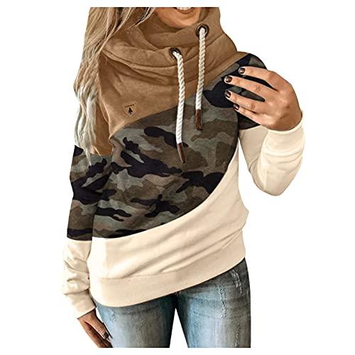 Dasongff Sudadera con capucha para mujer, para niña, cálida, cuello alto, sudadera deportiva para otoño, 14.27, L