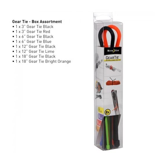 Nite Ize Original Gear Tie, Reusable Rubber Twist Tie, Assorted Colors and Sizes, 8 Pack, Made in the USA 3 REUSABLE RUBBER TWIST TIES - Flexible, reusable Gear Ties have a tough rubber exterior that provides excellent grip and a strong, bendable wire interior to hold their shape making them endlessly reusable and useful AVAILABLE IN A VARIETY OF COLORS + SIZES FOR ALL YOUR WRAPPING, BUNDLING, + ORGANIZING NEEDS - With a variety of sizes, you can tackle any job from cord organization to large home DIY projects TWIST IT, TIE IT, REUSE IT - No more need for single-use cable ties or zip ties, these Reusable Rubber Twist Ties can be used over and over again to organize cords, wrap headphones, and for endless other tasks at home, in the office, or on the job site