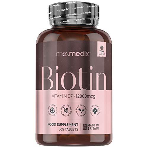 Biotine Cheveux, Ongles et Peau - 365 Comprimés 12000 mcg Extra Fort Vegan (1 an) MaxMedix 100% Naturel | Complément Alimentaire D-Biotine Vitamine B8 B7 - Croissance et Pousse des Cheveux Barbe