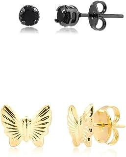 Kit de brincos com pedra natural preta folheado em ródio negro e borboleta folheado em ouro 18k