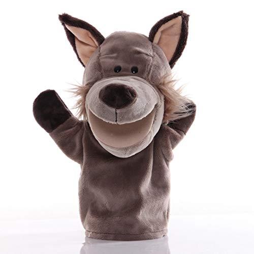 YTYASO Marioneta De Mano De Animales De 25Cm, Juguetes De Peluche De Lobo, Marionetas De Mano Educativas para Bebés, Muñeco De Juguete De Dibujos Animados para Contar Historias para Niños