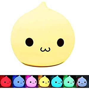 Jhua Portable Silicone LED Multicolor Night Lamp, Battery Powered Children Night Light with Warm White & 7-Color Breathing Dual Light Modes, Sensitive Tap Control Gifts for Baby Adults Bedroom