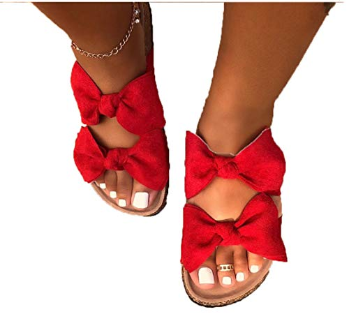 Xnhgfa Ladies Cork Footbed Sandals Bow Open Toe Sliders Womens Flip Flops Mule Micro Suede Slip On Slide Slippers Wedge Sandal Indoor Outdoor House Shoes with Large Bow Front Strap,Red,37