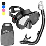 2020 Adult Snorkel Set for Men and Women with Adjustable Dual Strap - Enjoy Swimming, Snorkeling and Scuba Diving with Anti-Fog Tempered Glass Mask & No Leaks Dry Top Snorkel with Silicon Mouth Piece