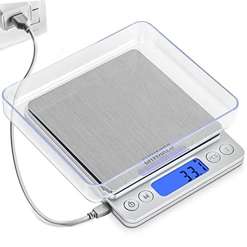 Balances de cuisine numériques CHWARES, chargement USB, mini balances alimentaires 3kg/0,1g, balances de cuisson électriques, balance numérique étanche rechargeable par USB,acier inoxydable