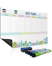 joeji's Kitchen Planificador semanal de Pizarra | Planificador semanal Familiar y Organizador semanal de Comidas Todo en uno | Pizarra Blanca magnética