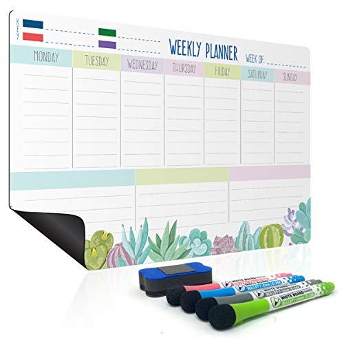 Wochenplaner abwischbar mit Magnet | Haushaltsplaner Familie Magnetisch | Kühlschrank Kalender und Memoboard | Magnetisches Whiteboard Calendar | Hochwertige Wochen- und Monatsplaner