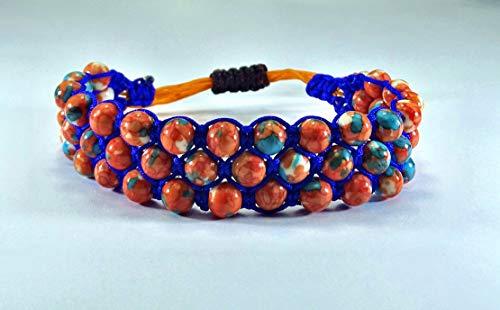 Triple Shamballa-Armband aus Jade ('turquoise orange') Naturstein Perlen für Damen, verstellbar ab 16,5cm