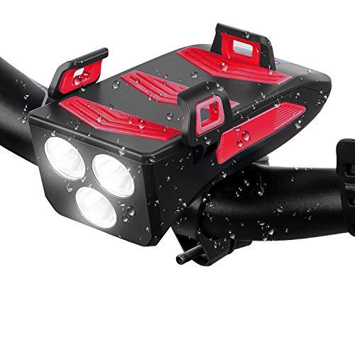 Schiele LED Fahrradlicht 4 in 1 LED Fahrradbeleuchtung Fahrradhupe, Fahrradtelefon-Powerbank, Fahrradhalterung für Handyhalter, 3 Licht-Modi, Rot