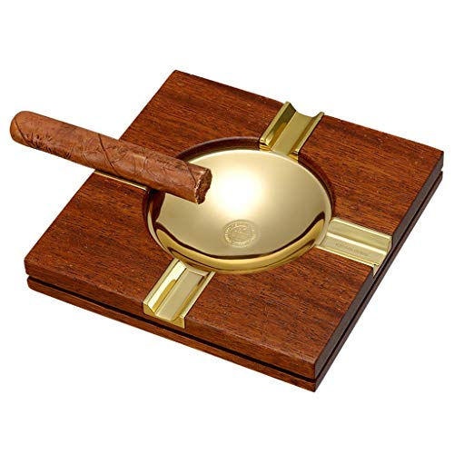 Ceniceros Portátil para Cigarros Madera Maciza para Oficina Acero Inoxidable Regalo para Amigos (Color : Brown, Size : 18x18x4cm)
