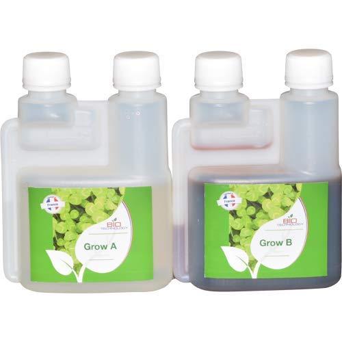 Bio Technology® | Fertilizante Mineral de Crecimiento Universal | Fertilizante de Crecimiento | Alta Eficiencia para Toda Clase de Plantas | Mejora el Rendimiento | Grow A + B - 250 ML