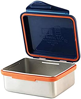 Kid Basix by New Wave Safe Snacker–Stainless Steel Lunchbox for Food Storage - Navy 13 oz