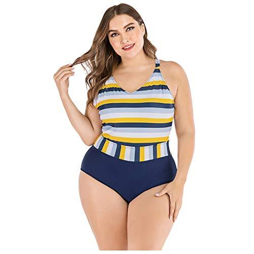 TIFIY Bikini Brasileñosa de Cintura Alta, Tallas Grandes, Traje de baño de Dos Piezas, Estampado y Bordado, para natación y Playa
