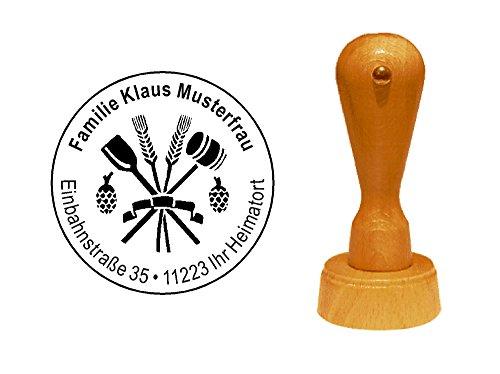 Stempel Holzstempel Motivstempel « BRAUEREI » Durchmesser ca. Ø 40 mm - mit persönlicher Adresse und Motiv - Bierbrauer Brauer Bierbrauerei Beruf
