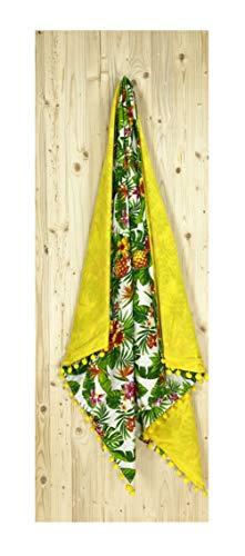 Tex family Kikoo - Toalla de playa doble con diseño de piña amarilla de algodón y rizo con mochila Keep ⭐