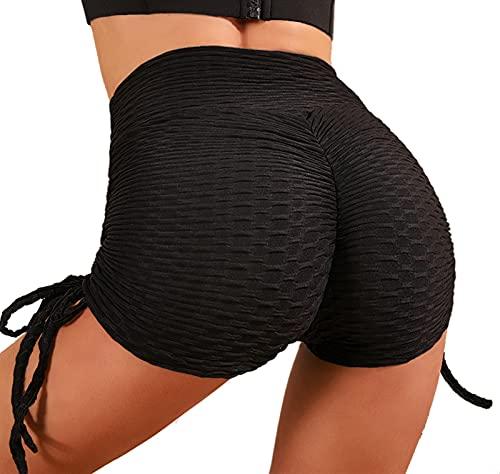 Merlvida Leggins Mujer Push Up Pantalones Cortos de Cintura Alta Mallas Deporte Mujer de Verano Ropa Pantalón Ajuste con Cordón Shorts Mayas Elásticas Suave Transpirables para Correr Gym Fitness