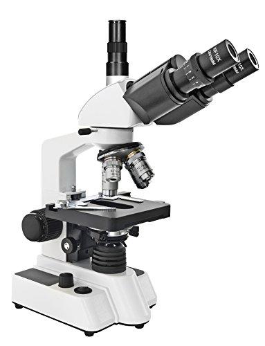 Bresser Durchlicht Mikroskop Researcher Trino 40x-1000x Vergrößerung für gehobene Ansprüche, LED Beleuchtung und drehbarer trinokularer Auszug, koaxialer Kreuztisch sowie Grob- und Feinfokussierung