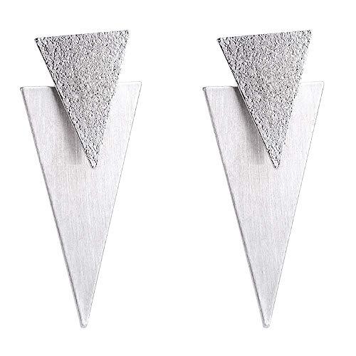 Pendientes colgantes de doble triángulo de metal Pendientes de declaración de acabado cepillado Pendiente de traje bohemio colgante para mujer Chica Bar Fiesta Joyería de moda (Oro blanco)
