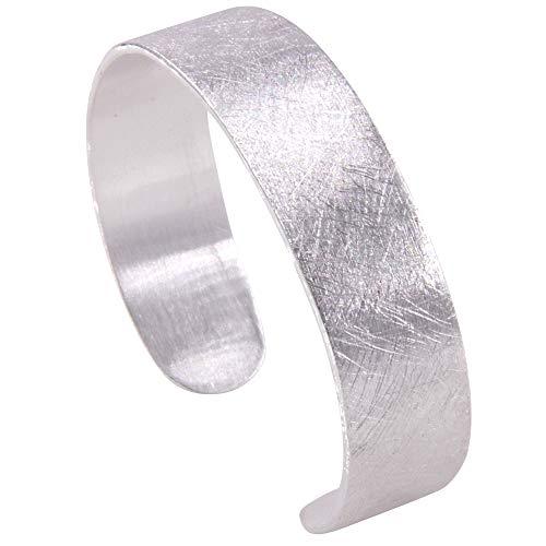 massiver Armreif Silber hochwertige Goldschmiedearbeit aus Deutschland - 15 mm breit (Sterling Silber 925 mattiert) Damen und Herren Armband Armspange Reif Spange
