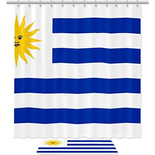 Bennigiry - Juego de cortinas de ducha con bandera de Uruguay (182 x 183 cm), cortinas de ducha de poliéster y alfombra de baño con 12 ganchos