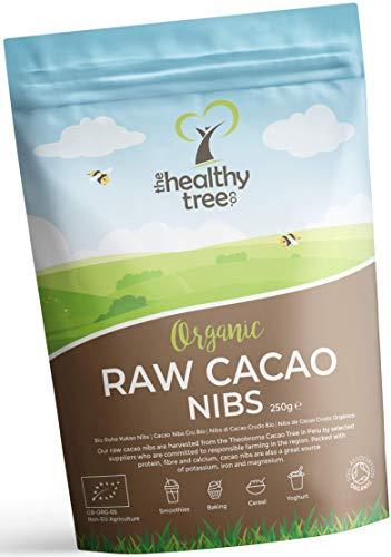 Grué de Cacao Cru Bio par TheHealthyTree Company pour les Smoothies, l'Avoine et le Yaourt - Riche en Fibres, Calcium, Cuivre et Magnésium - Nibs / Fèves de Cacao Végan Péruvien (250 g)