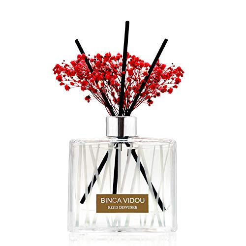 Binca Vidou Preserved Flower Reed Diffuser Set, Retreat Collection, Eucalyptus Geranium and Peppermint Mixed Scented Diffuser with 8 Sticks, Fresh and Natural Reed Diffuser, Lasts 180 Days, 200ml