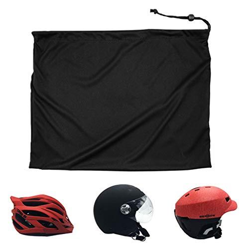 Bolso para Casco Universal Hecha Nylon con cordón de Bloqueo para Moto para Bicicleta Universal Portátil Hecha Nylon con cordón de Bloqueo (Negro Paquete de 2)