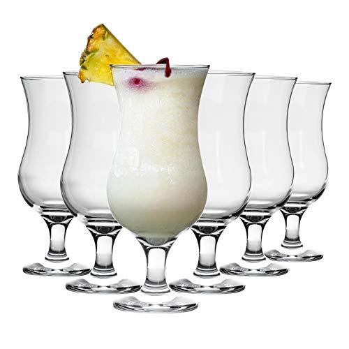 Rink Drink 6 Piece Pina Colada Cocktail Glasses Set - Hurricane Style Poco...