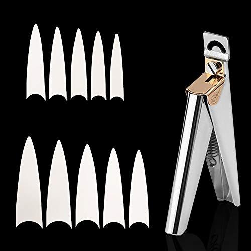 CS COSDDI 500 uñas falsas de 10 tamaños, puntas de uñas postizas de estilo acrílico, con cortaúñas falsas para niñas y mujeres (natural)