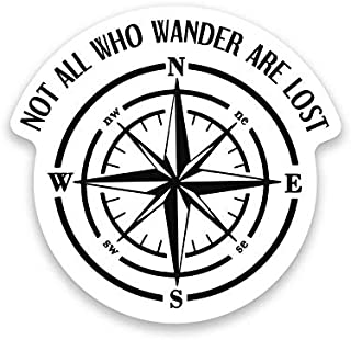 More Shiz Not All Who Wander are Lost Compass Vinyl Decal Sticker - Car Truck Van SUV Window Wall Cup Laptop - One 5 Inch Decal - MKS1206