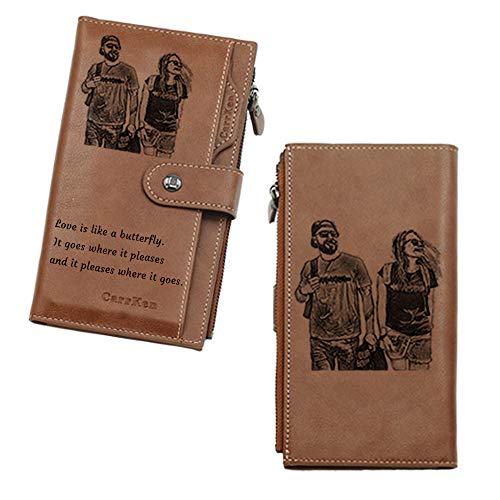 Benutzerdefinierte Geschnitzte Foto-Brieftasche, Personalisierte Foto-Brieftasche Für Männer, Ehemann, Vater, Sohn, Weihnachtsgeschenke (Braun-Lange)