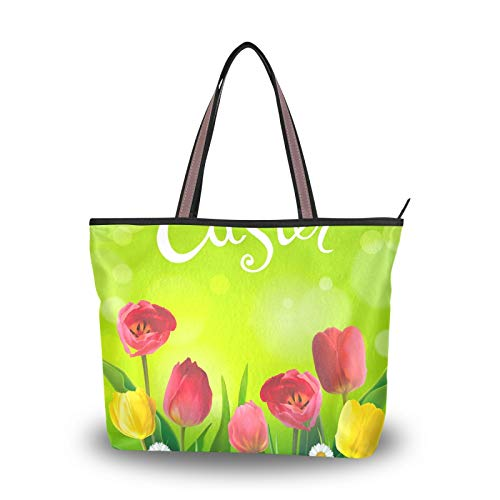Tote Bag for Women Girls Ladies Student Light Weight Strap Shoulder Bags Handbags Purse Shopping Easter 3D Eggs Flowers Tulip Daisy