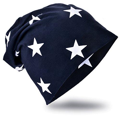 MioboBaby Kinder Jersey Slouch Beanie Long Mütze mit Stern Unisex Baumwolle Trend , BlauKleinStern-Schwarzblau, 48-53cm Kopfumfang