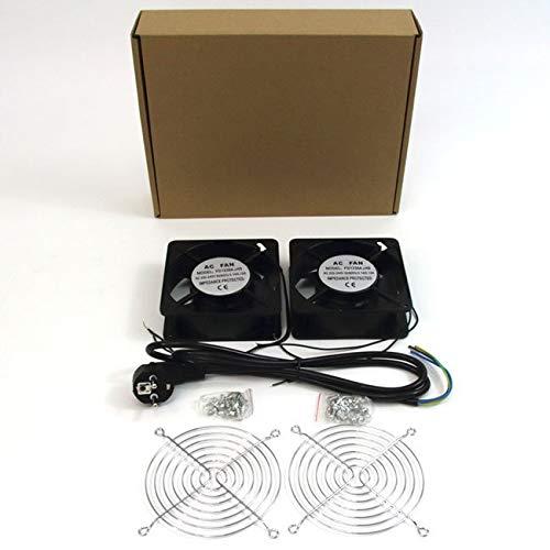 powergreen RAC-00003-ST Doble Ventilador de 12 Cm para Armario Rack