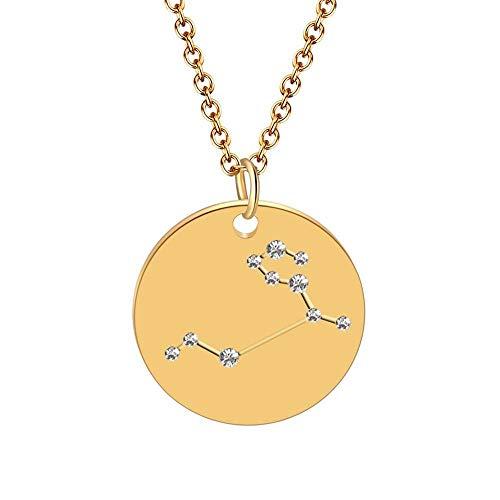 DDDDMMMY Halskette,12 Sterne Sternzeichen Löwe Sternbild Zeichen Astrologie Disc Galaxy Horoskop Anhänger Halsketten Collier Weibliche Party Geburtstag Geschenk