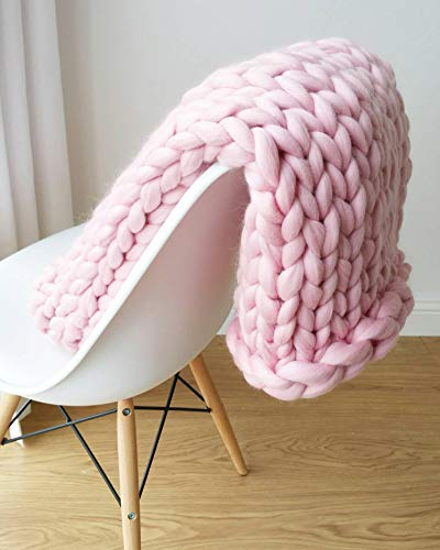 eacho Chunky Knit Blanket Soft Bulky Hand Made Throw for Bedroom Sofa Decor Super Large,Pink,32'' x 40''