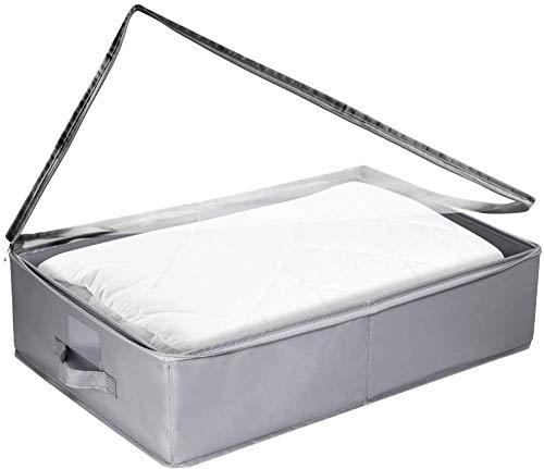 Ximger – Cajón para Debajo de la Cama, de Tela, para Guardar Debajo de la Cama, Bolsa de Almacenamiento, Plano, pequeño, Gris, para Ropa de Cama, Plegable