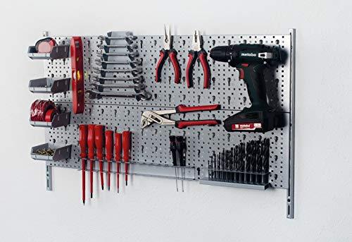 Element System 18133-00422 Werkzeugwand aus Metall Plus 19 teiliges Werkzeughalterset inklusive Schrauben und Dübel, Lochwand zur Werkzeugaufbewahrung weißalu, Werkbankzubehör