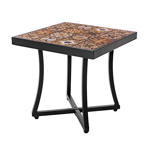 Mesa de jardín de Hierro con Mosaico marrón para terraza Garden - LOLAhome