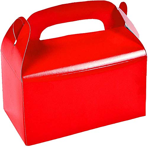 Red Treat Boxes (12 Pack) Cardboard Gable Candy Treat Cookie Boxes for Kids - For Valentines Day Gift Bag Treat Party Favors Holder for Kids, Goodie Bag by 4E's Novelty