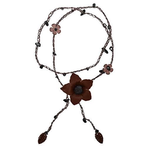SoulCats Collar de Cuero con Flores y Ónix para Mujer en Color Marrón Oscuro