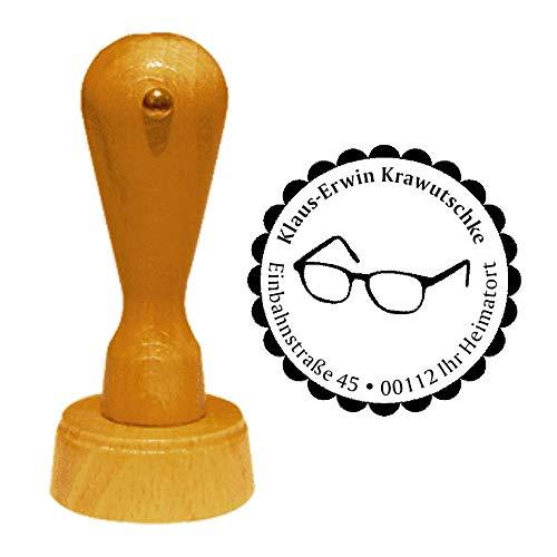 Stempel Adressstempel « BRILLE » Durchmesser ca. Ø 40 mm - mit persönlicher Adresse, Motiv und Zierrand - Beruf Optiker Sehtest