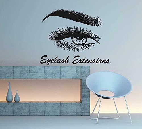 Pestañas Cejas Salón de belleza Peluquería Referencia Vinilo Etiqueta de la pared Diseño Etiqueta de la pared Mariposa