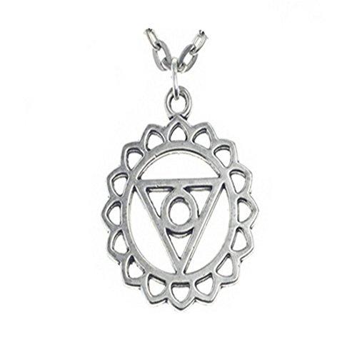 Collar de chakra de garganta, colgante de chakra de plata, joyería de chakras