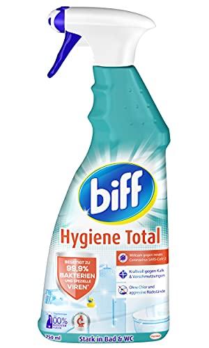 Biff Hygiene Total, Badreiniger, 750 ml, Sprühflasche, für alle Oberflächen im Bad, entfernt 99,9 % der Bakterien und speziellen Vieren*