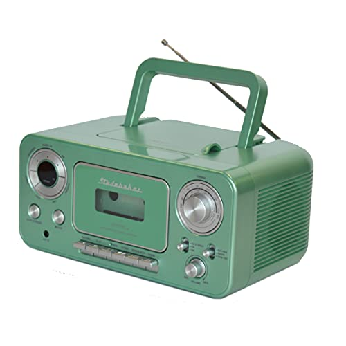 Studebaker SB2135TS Portable Stereo CD Player with AM/FM Radio and Cassette Player/Recorder (Teal Silver)